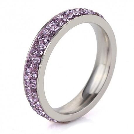 nemesacél gyűrű Lila kristályos, 2 soros nemesacél gyűrű