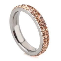 nemesacél gyűrű Arany kristályos, 2 soros nemesacél gyűrű