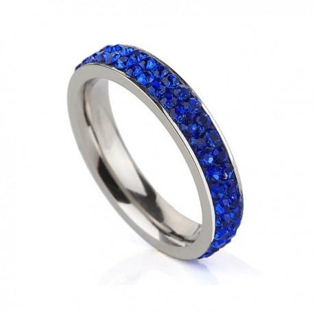 nemesacél gyűrű Sötétkék kristályos, 2 soros nemesacél gyűrű