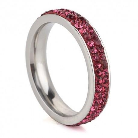 nemesacél gyűrű Pink kristályos, 2 soros nemesacél gyűrű