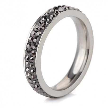 nemesacél gyűrű Szürke kristályos, 2 soros nemesacél gyűrű