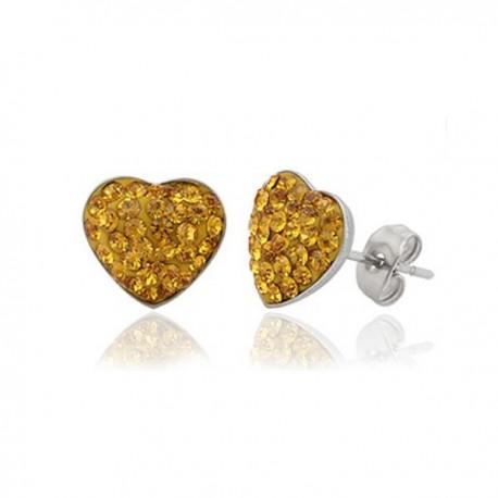 nemesacél fülbevaló Sárga kristályos, szív alakú nemesacél