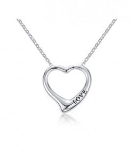Nemesacél szív nyaklánc love felirattal - ezüst