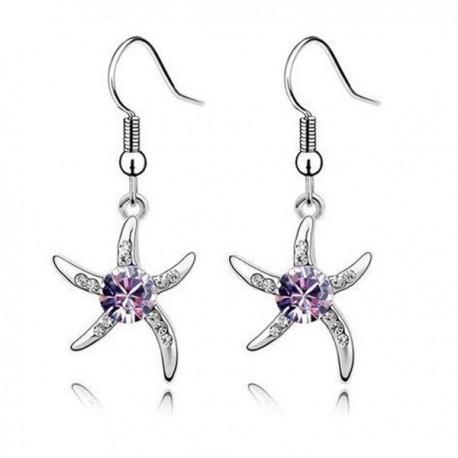 kristályos fülbevaló Lila kristályos tengeri csillag fülbevaló