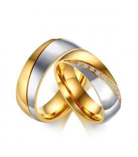 Cirkónia sávos, női karikagyűrű arany bevonattal