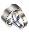 Arany sávos, gravírozható férfi nemesacél karikagyűrű