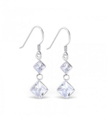 Swarovski kristályos ezüst fülbevaló - fehér négyzetek