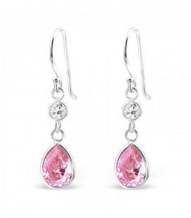 Swarovski kristályos ezüst fülbevaló - rózsaszín cseppek