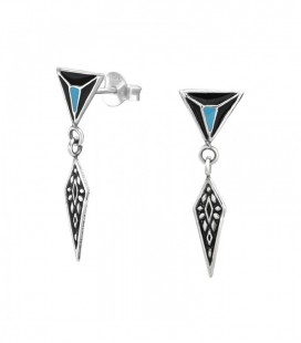 Háromszög, antik hatású ezüst fülbevaló
