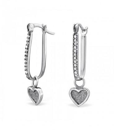 Szív díszes ezüst fülbevaló Swarovski kristályokkal