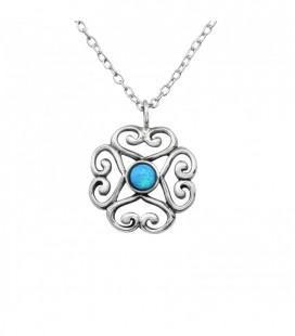 Opál köves ezüst virág medál nyaklánccal