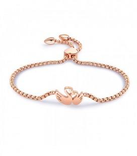 Szerelmes hattyúk, állítható méretű nemesacél karkötő - rozé arany