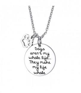 Nemesacél nyaklánc kutya imádóknak, gravírozott felirattal - ezüst