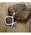 Kétoldalú nemesacél medál+nyaklánc, keresztény szimbólumokkal