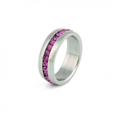 nemesacél gyűrű Rózsaszín kristályos nemesacél gyűrű