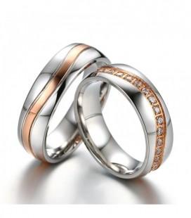 Rozé arany sávos prémium női karikagyűrű nemesacélból