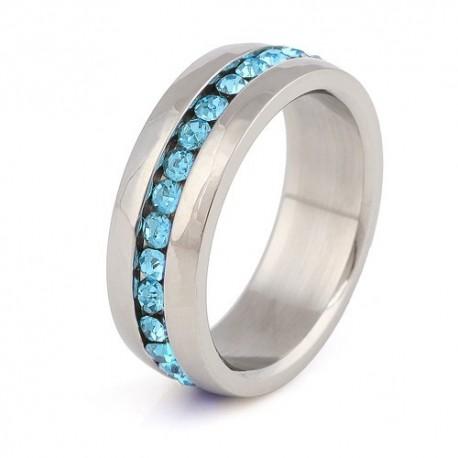 nemesacél gyűrű Kék kristályos nemesacél gyűrű
