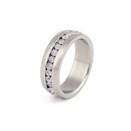 nemesacél gyűrű Nemesacél gyűrű - fehér kristályokkal