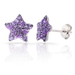 nemesacél fülbevaló Lila kristályos, csillag alakú nemesacél
