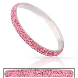 nemesacél karkötő Rózsaszín kristályos, kapcsos nemesacél