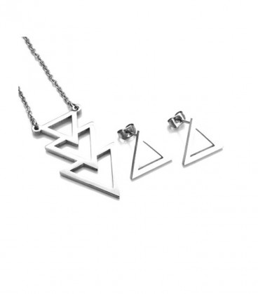 Geometrikus nemesacél ékszerszett - háromszögek