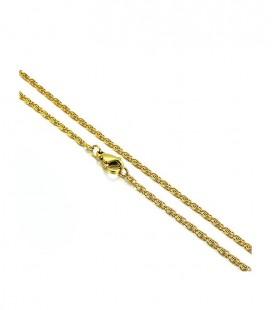 Aranyozott, görög láncszemes nemesacél nyaklánc (60cmx1,9mm)