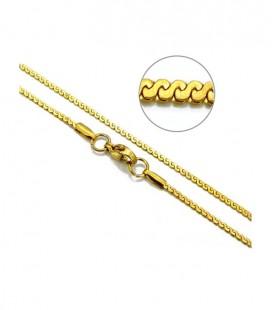 Aranyozott, hullám láncszemes nemesacél nyaklánc (45cmx1,5mm)