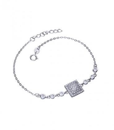 Ezüst karkötő mikrocirkóniával - négyzet és körök