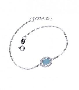 Különleges ezüst karkötő kék macskaszem kővel