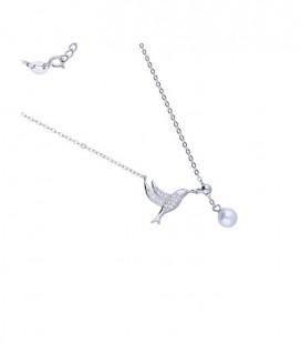 Ezüst kolibri, gyöngyös nyaklánc cirkóniával