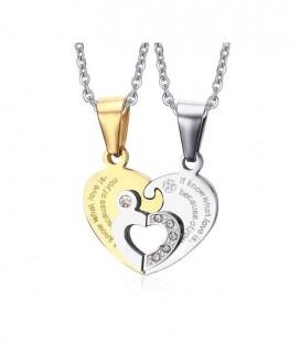6683351b16 Összeilleszthető, szív alakú páros acél nyaklánc felirattal