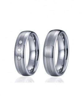 3 sávos wolfram női karikagyűrű kristályokkal