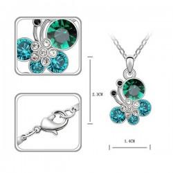 kristályos nyaklánc Türkiz kristályos pillangós nyaklánc