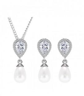 Csepp alakú, gyöngyös esküvői ékszerszett kristályokkal