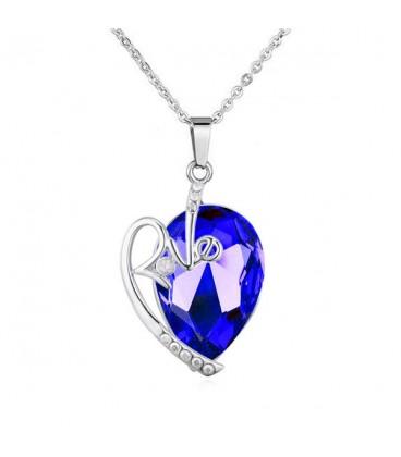 Love nemesacél szív medál nyakláncon, Swarovski kristállyal - Kobaltkék
