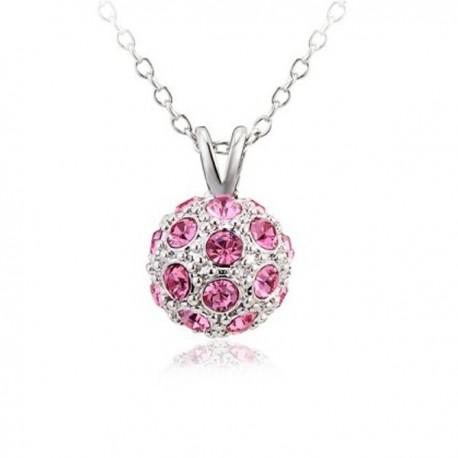 kristályos nyaklánc Rózsaszín köves shamballa nyaklánc