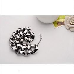 bizsu karkötő Ezüstös-fekete, vastag láncos bizsu karkötő