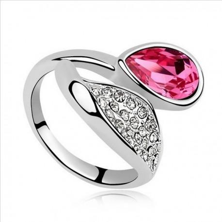kristályos gyűrű Rózsaszín köves tulipán gyűrű
