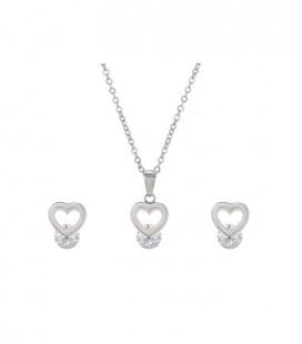 Szív alakú nemesacél ékszerszett, kerek cirkóniával