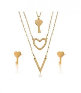 Kulcs és szív acél ékszerszett, arany bevonattal