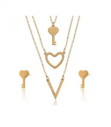 Kulcs és szív ékszerszett, arany bevonattal