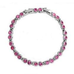 Kerek kristályos, elegáns karlánc - rózsaszín
