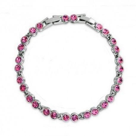 kristályos karkötő Kerek kristályos, elegáns karlánc - rózsaszín