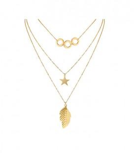 Levél, csillag és kör - 3 soros acél nyaklánc arany bevonattal