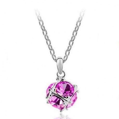 kristályos nyaklánc Rózsaszín kristályos gömb nyaklánc