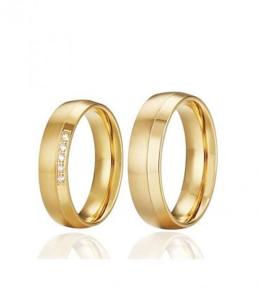 2 sávos, aranyozott férfi nemesacél karikagyűrű