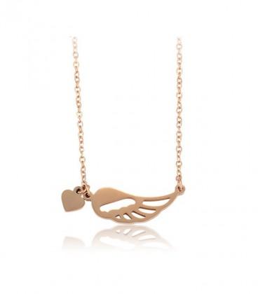 Védelmező angyalszárny nyaklánc nemesacélból, rozé arany bevonattal