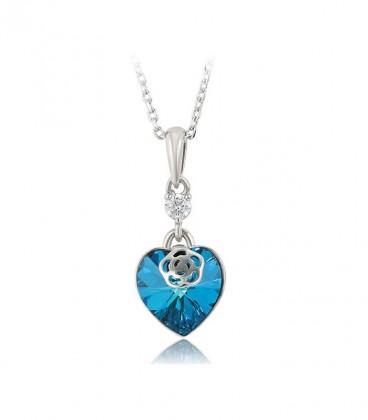 Szív & rózsa, tengerkék Swarovski kristályos nyaklánc