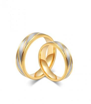 Aranyozott, vésett mintájú női nemesacél karikagyűrű