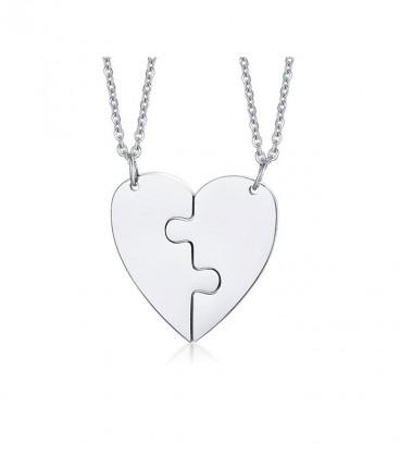 Puzzle - 2 részes, törhető nemesacél szív medál